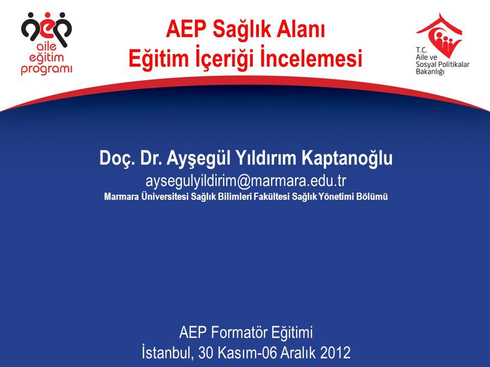 Doç. Dr. Ayşegül Yıldırım Kaptanoğlu aysegulyildirim@marmara.edu.tr Marmara Üniversitesi Sağlık Bilimleri Fakültesi Sağlık Yönetimi Bölümü AEP Formatö