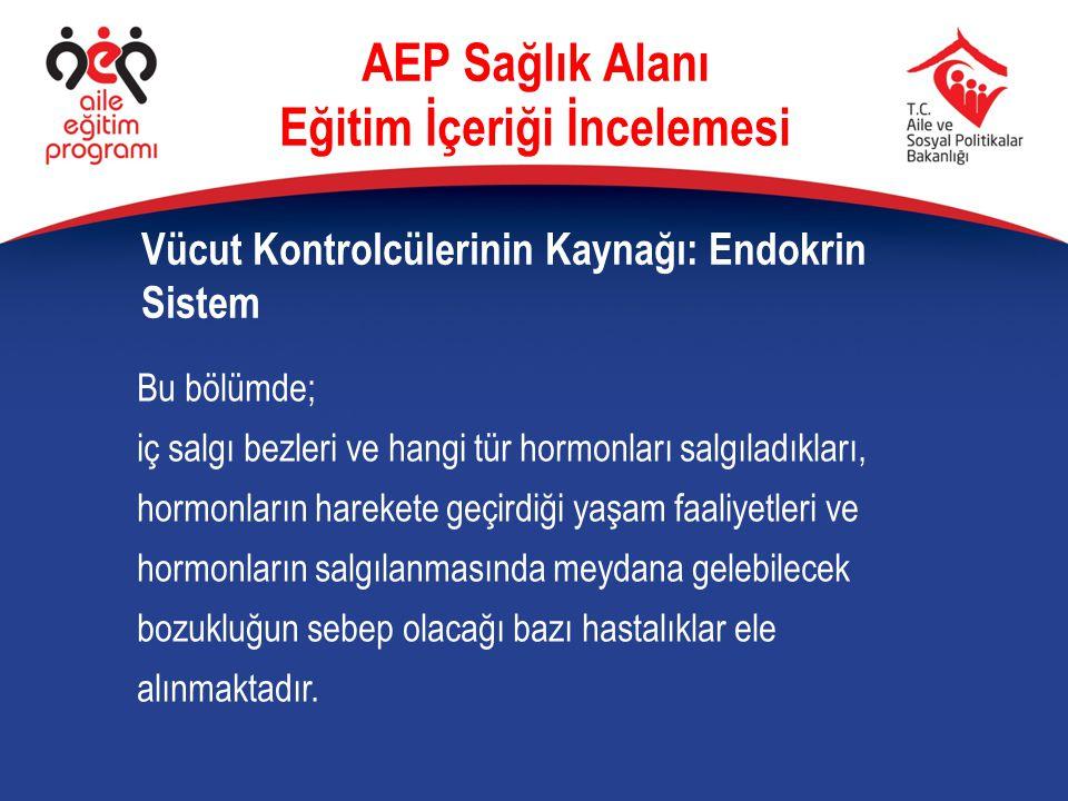 AEP Sağlık Alanı Eğitim İçeriği İncelemesi Vücut Kontrolcülerinin Kaynağı: Endokrin Sistem Bu bölümde; iç salgı bezleri ve hangi tür hormonları salgıl
