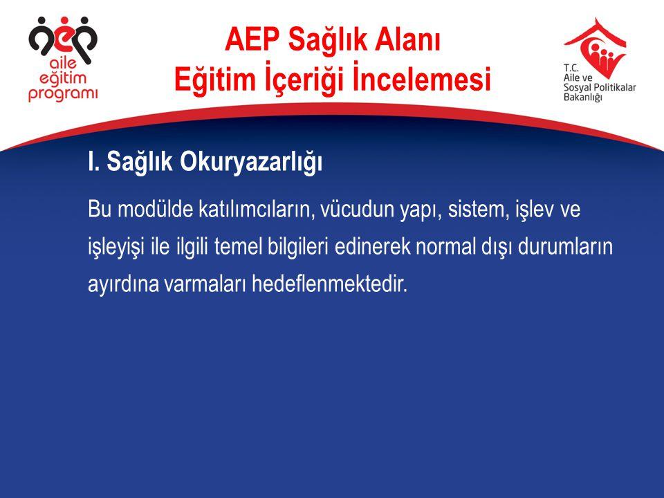 I. Sağlık Okuryazarlığı AEP Sağlık Alanı Eğitim İçeriği İncelemesi Bu modülde katılımcıların, vücudun yapı, sistem, işlev ve işleyişi ile ilgili temel