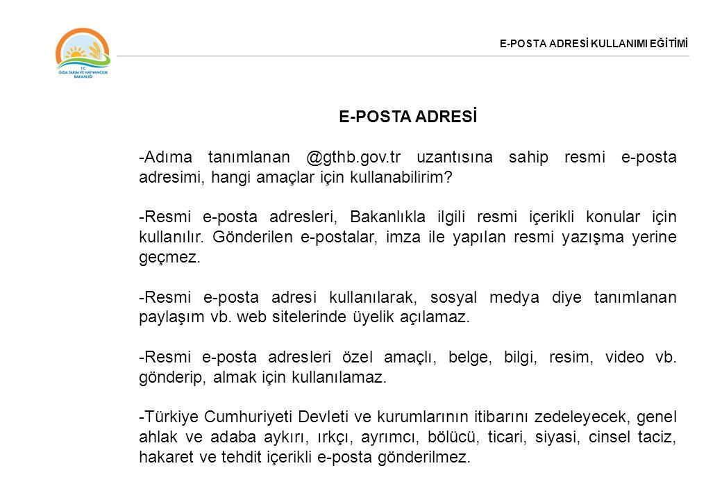 E-POSTA ADRESİ KULLANIMI EĞİTİMİ E-POSTA ADRESİMİN ŞİFRESİ-7 -