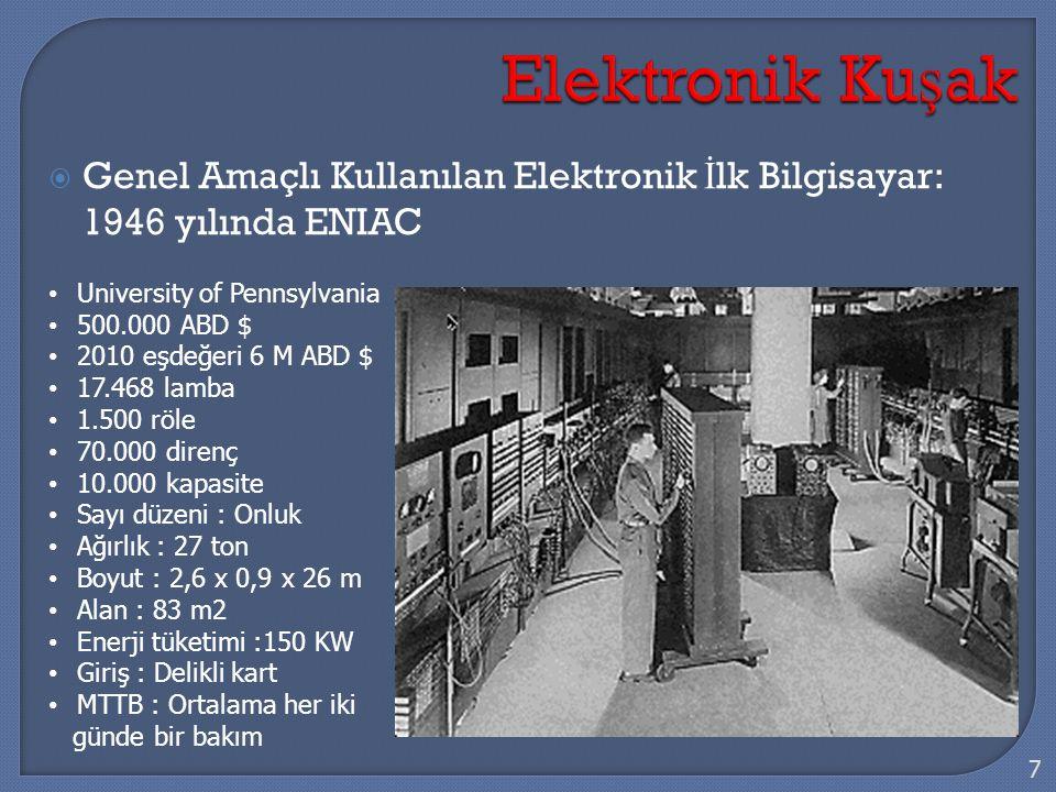  Genel Amaçlı Kullanılan Elektronik İ lk Bilgisayar: 1946 yılında ENIAC 7 University of Pennsylvania 500.000 ABD $ 2010 eşdeğeri 6 M ABD $ 17.468 lam