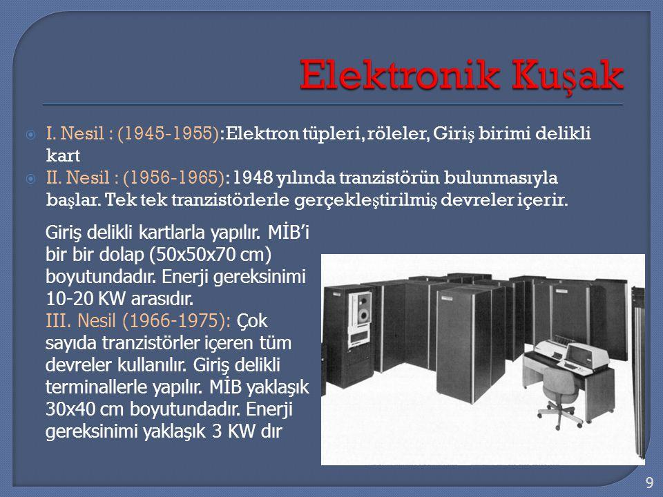  I. Nesil : (1945-1955): Elektron tüpleri, röleler, Giri ş birimi delikli kart  II. Nesil : (1956-1965): 1948 yılında tranzistörün bulunmasıyla ba ş