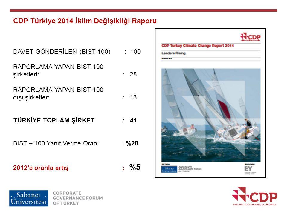CDP Türkiye 2014 İklim Değişikliği Raporu DAVET GÖNDERİLEN (BIST-100) : 100 RAPORLAMA YAPAN BIST-100 şirketleri: : 28 RAPORLAMA YAPAN BIST-100 dışı şi