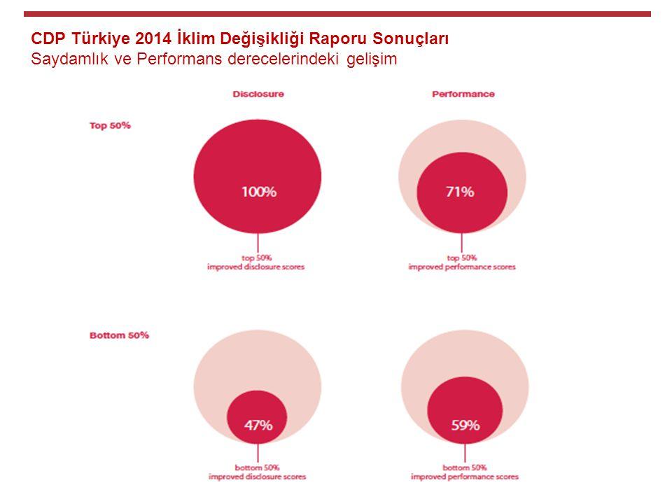 CDP Türkiye 2014 İklim Değişikliği Raporu Sonuçları Saydamlık ve Performans derecelerindeki gelişim