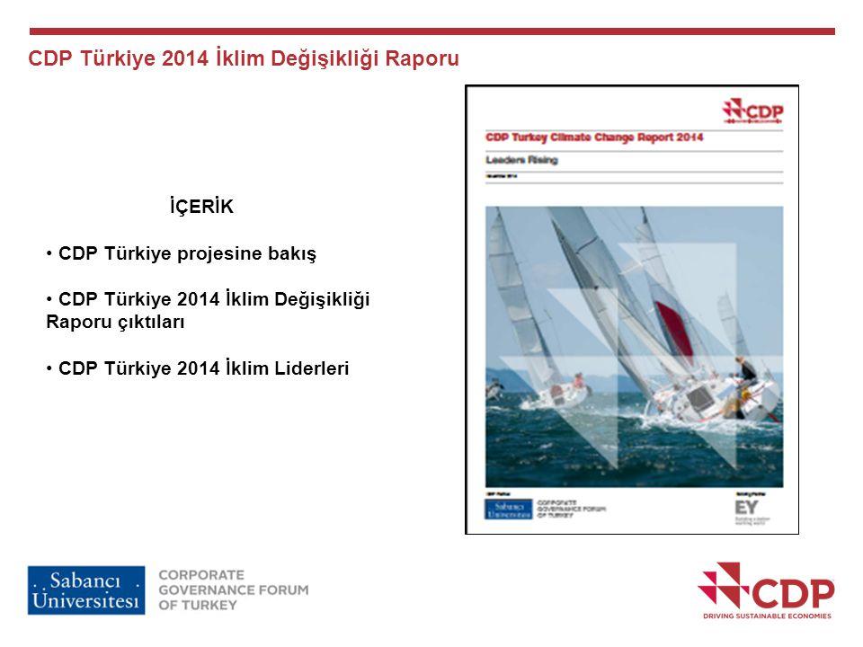 CDP Türkiye 2014 İklim Değişikliği Raporu İÇERİK CDP Türkiye projesine bakış CDP Türkiye 2014 İklim Değişikliği Raporu çıktıları CDP Türkiye 2014 İkli