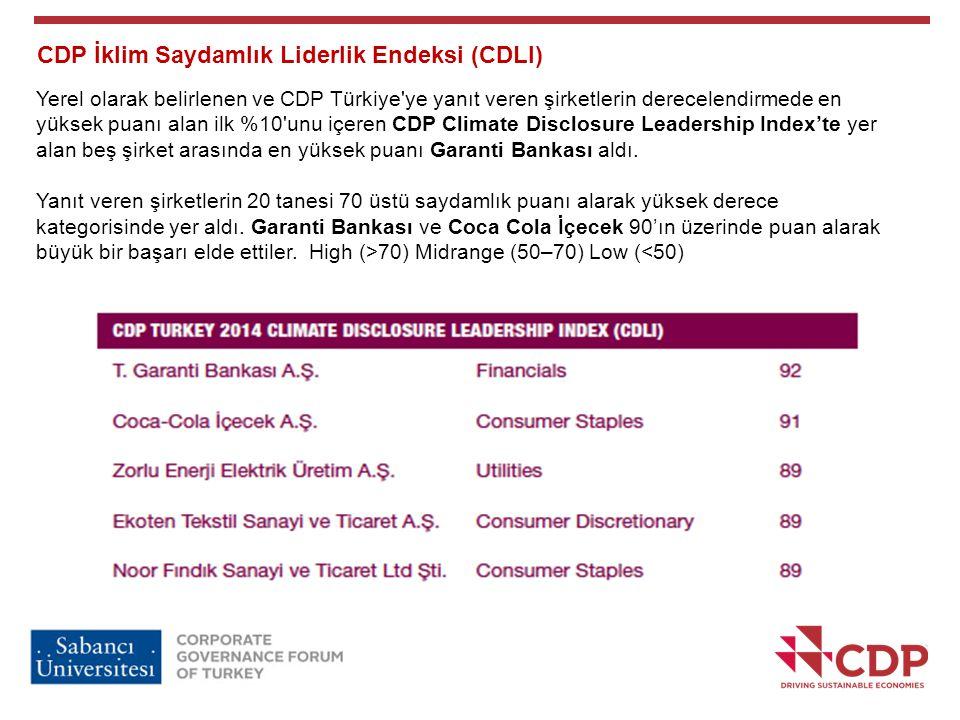 CDP İklim Saydamlık Liderlik Endeksi (CDLI) Yerel olarak belirlenen ve CDP Türkiye'ye yanıt veren şirketlerin derecelendirmede en yüksek puanı alan il
