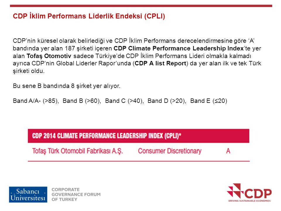 CDP İklim Performans Liderlik Endeksi (CPLI) CDP'nin küresel olarak belirlediği ve CDP İklim Performans derecelendirmesine göre 'A' bandında yer alan