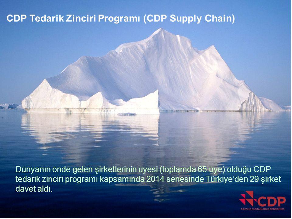 CDP Supply Chain Dünyanın önde gelen şirketlerinin üyesi (toplamda 65 üye) olduğu CDP tedarik zinciri programı kapsamında 2014 senesinde Türkiye'den 2