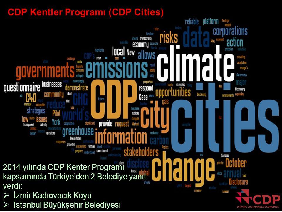 CDP Kentler Programı (CDP Cities) 2014 yılında CDP Kenter Programı kapsamında Türkiye'den 2 Belediye yanıt verdi:  İzmir Kadıovacık Köyü  İstanbul B