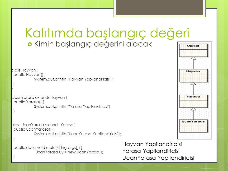 Kalıtımda başlangıç değeri  Kimin başlangıç değerini alacak class Hayvan { public Hayvan() { System.out.println( Hayvan Yapilandiricisi ); } class Yarasa extends Hayvan { public Yarasa() { System.out.println( Yarasa Yapilandiricisi ); } class UcanYarasa extends Yarasa{ public UcanYarasa() { System.out.println( UcanYarasa Yapilandiricisi ); } public static void main(String args[]) { UcanYarasa uy = new UcanYarasa(); } Hayvan Yapilandiricisi Yarasa Yapilandiricisi UcanYarasa Yapilandiricisi