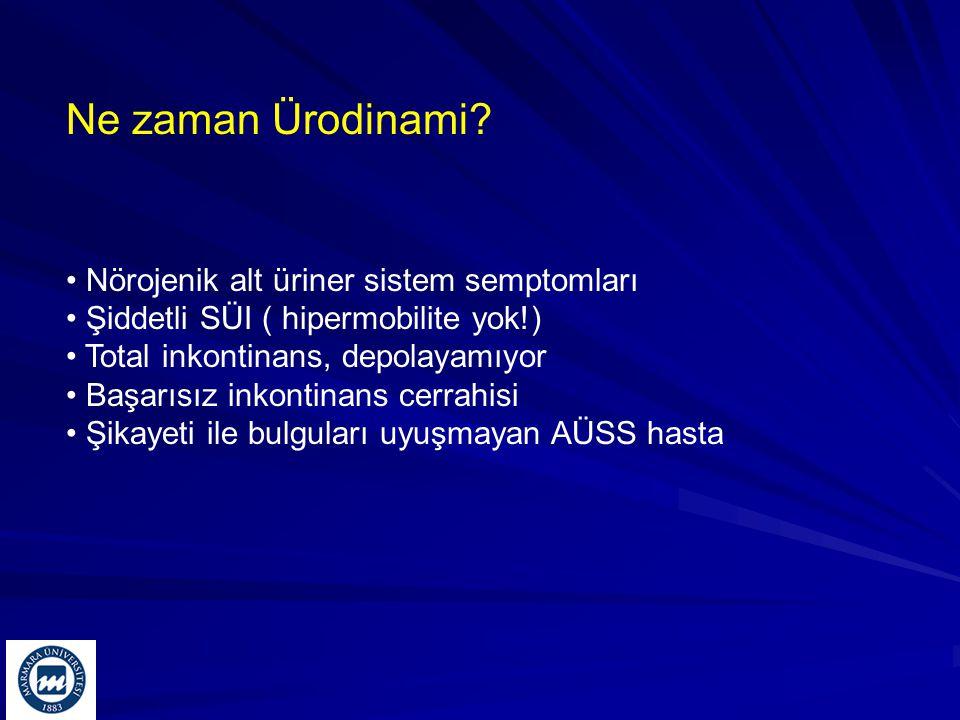 Ne zaman Ürodinami? Nörojenik alt üriner sistem semptomları Şiddetli SÜI ( hipermobilite yok!) Total inkontinans, depolayamıyor Başarısız inkontinans
