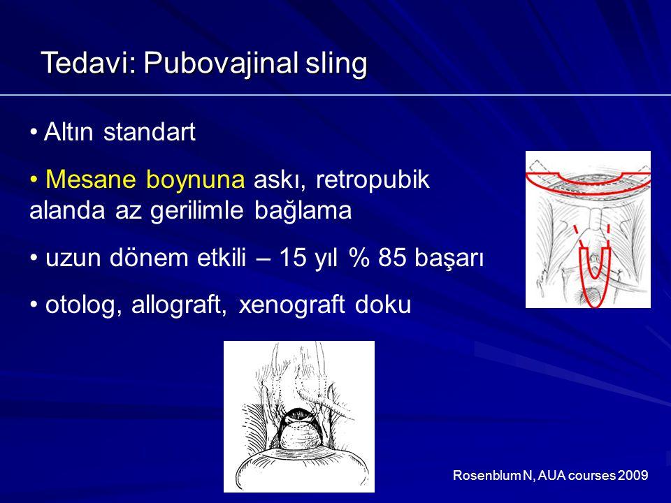 Tedavi: Pubovajinal sling Altın standart Mesane boynuna askı, retropubik alanda az gerilimle bağlama uzun dönem etkili – 15 yıl % 85 başarı otolog, allograft, xenograft doku Rosenblum N, AUA courses 2009