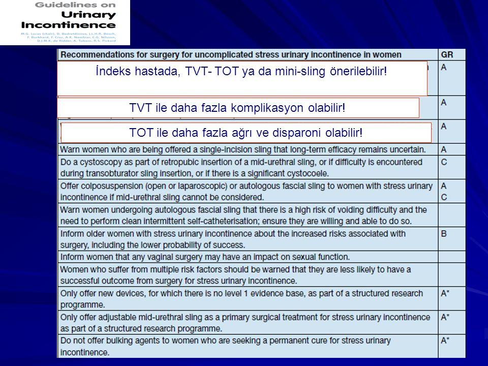 TVT ile daha fazla komplikasyon olabilir! İndeks hastada, TVT- TOT ya da mini-sling önerilebilir! TOT ile daha fazla ağrı ve disparoni olabilir!