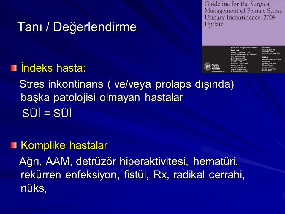 Tanı / Değerlendirme İndeks hasta: Stres inkontinans ( ve/veya prolaps dışında) başka patolojisi olmayan hastalar Stres inkontinans ( ve/veya prolaps dışında) başka patolojisi olmayan hastalar SÜİ = SÜİ SÜİ = SÜİ Komplike hastalar Ağrı, AAM, detrüzör hiperaktivitesi, hematüri, rekürren enfeksiyon, fistül, Rx, radikal cerrahi, nüks, Ağrı, AAM, detrüzör hiperaktivitesi, hematüri, rekürren enfeksiyon, fistül, Rx, radikal cerrahi, nüks,