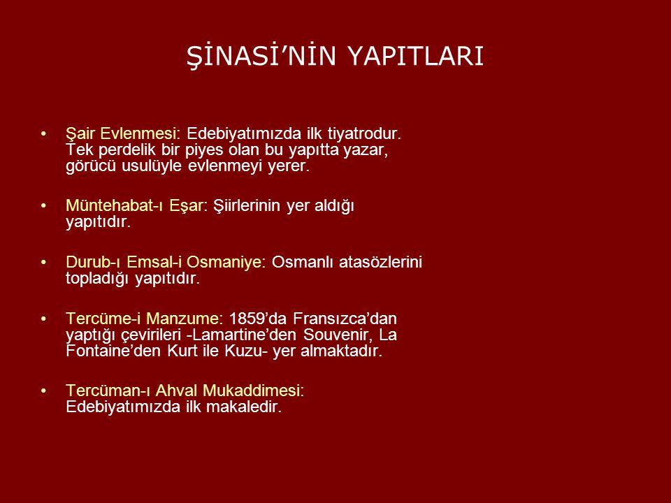 NAMIK KEMAL(1840-1888) Edebiyatı, topluma yarar sağlamak ve düşüncelerini halka yaymak için bir araç olarak kullanmış, Sanat yapıtının halk için yazılması ve gerçeğe ve tabiata' uygun olması gerektiğini söylemiştir.