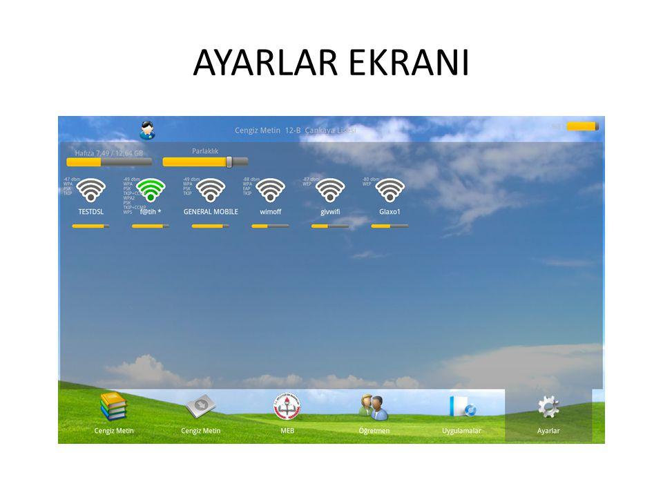 AYARLAR EKRANI