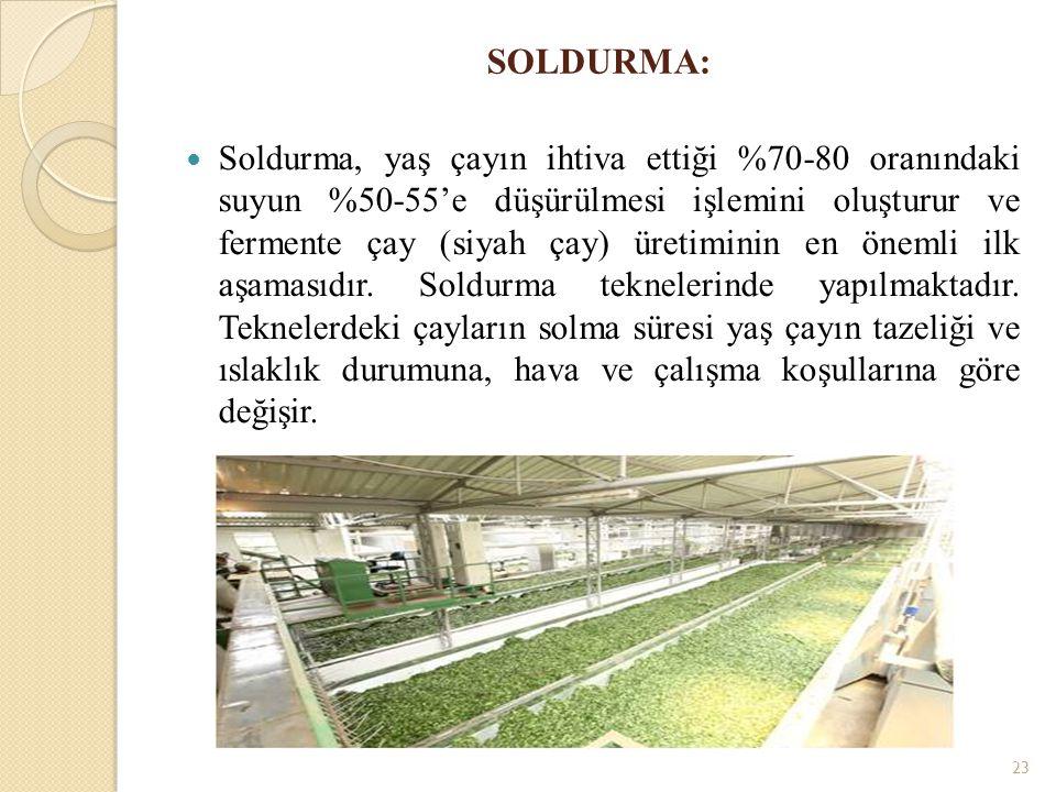 SOLDURMA: Soldurma, yaş çayın ihtiva ettiği %70-80 oranındaki suyun %50-55'e düşürülmesi işlemini oluşturur ve fermente çay (siyah çay) üretiminin en önemli ilk aşamasıdır.
