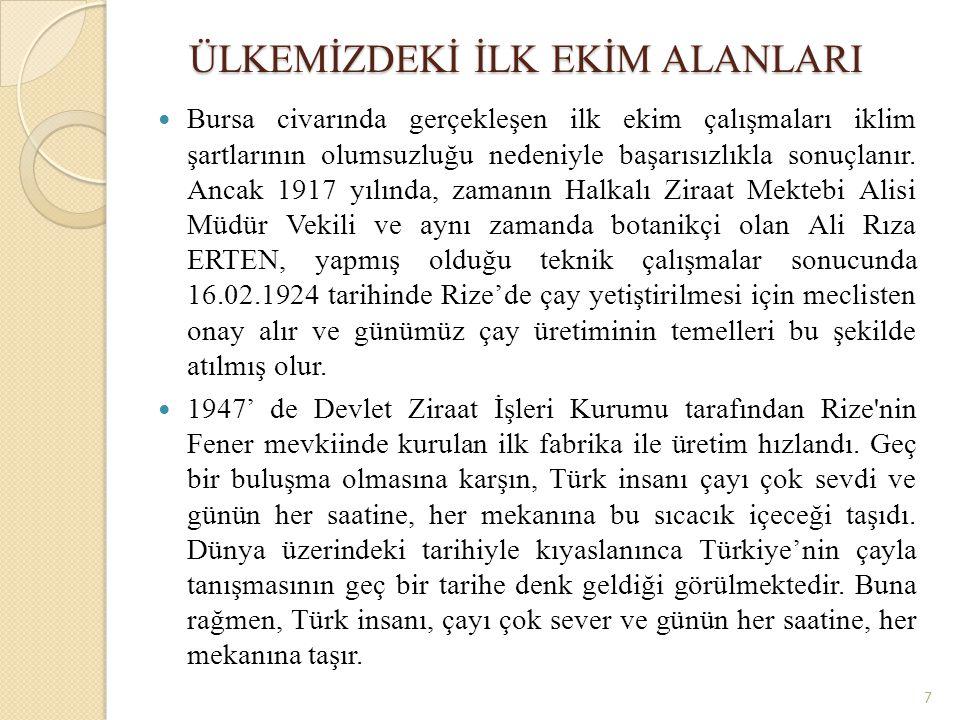 ÜLKEMİZDEKİ İLK EKİM ALANLARI Bursa civarında gerçekleşen ilk ekim çalışmaları iklim şartlarının olumsuzluğu nedeniyle başarısızlıkla sonuçlanır. Anca