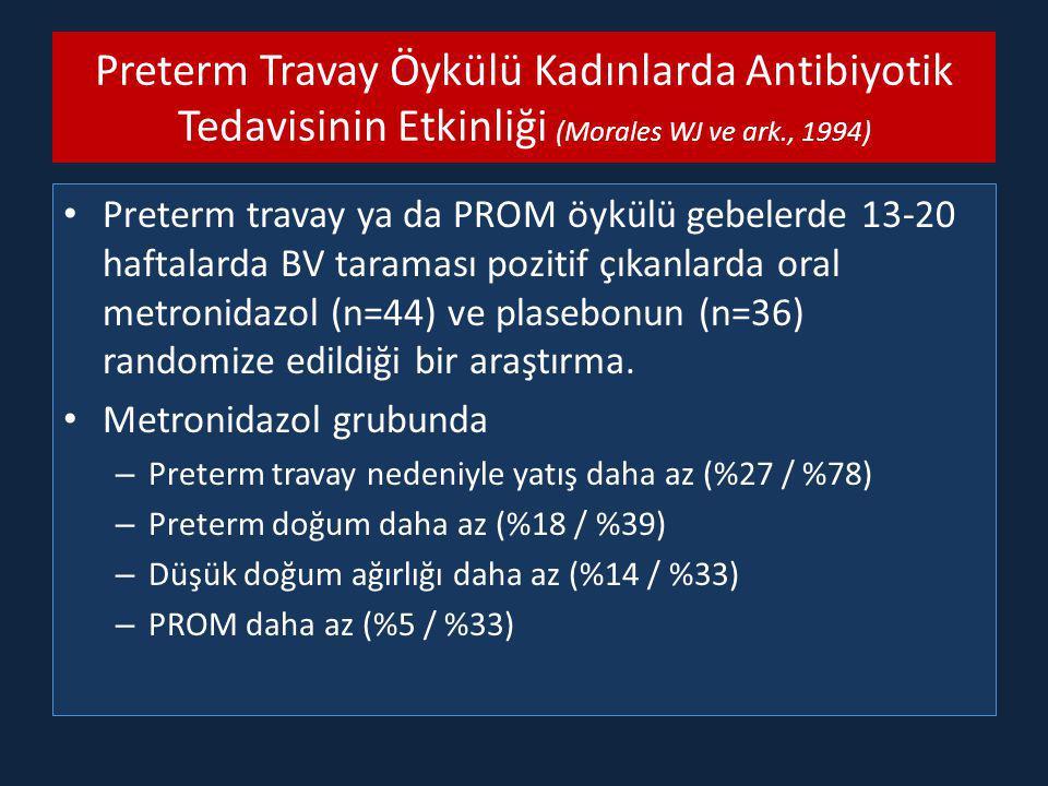 Preterm Travay Öykülü Kadınlarda Antibiyotik Tedavisinin Etkinliği (Morales WJ ve ark., 1994) Preterm travay ya da PROM öykülü gebelerde 13-20 haftalarda BV taraması pozitif çıkanlarda oral metronidazol (n=44) ve plasebonun (n=36) randomize edildiği bir araştırma.