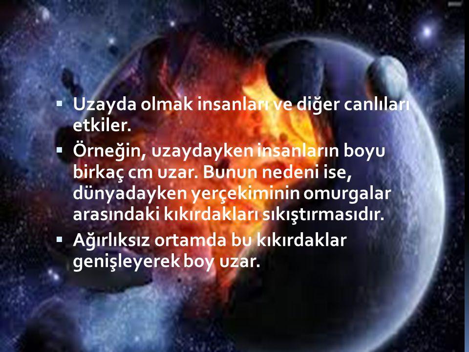  Uzayda olmak insanları ve diğer canlıları etkiler.  Örneğin, uzaydayken insanların boyu birkaç cm uzar. Bunun nedeni ise, dünyadayken yerçekiminin