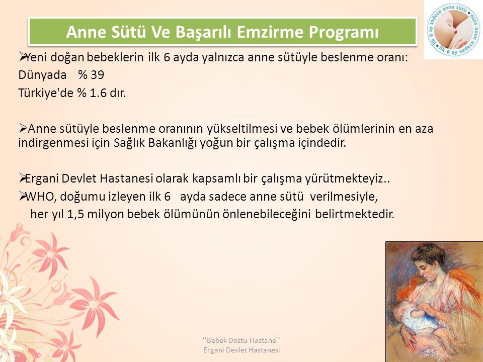 Anne Sütü Ve Başarılı Emzirme Programı  Yeni doğan bebeklerin ilk 6 ayda yalnızca anne sütüyle beslenme oranı: Dünyada % 39 Türkiye de % 1.6 dır.