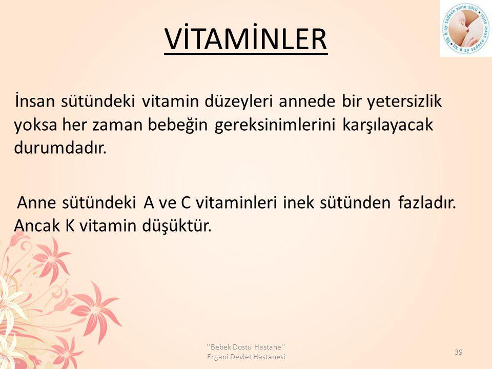 VİTAMİNLER İnsan sütündeki vitamin düzeyleri annede bir yetersizlik yoksa her zaman bebeğin gereksinimlerini karşılayacak durumdadır. Anne sütündeki A