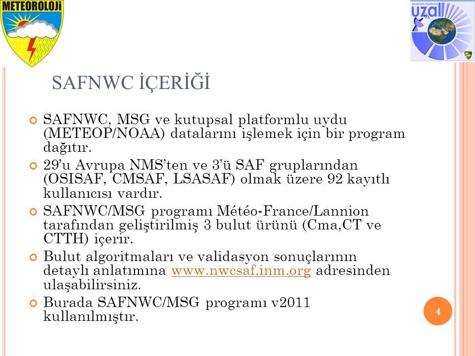 SAFNWC İÇERİĞİ SAFNWC, MSG ve kutupsal platformlu uydu (METEOP/NOAA) datalarını işlemek için bir program dağıtır.