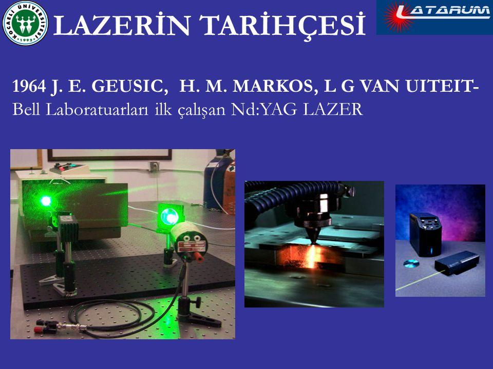 1964 J. E. GEUSIC, H. M. MARKOS, L G VAN UITEIT- Bell Laboratuarları ilk çalışan Nd:YAG LAZER LAZERİN TARİHÇESİ