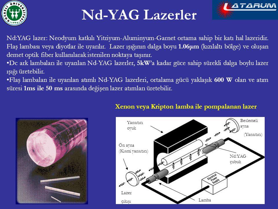 Nd-YAG Lazerler Nd:YAG lazer: Neodyum katkılı Yitriyum-Aluminyum-Garnet ortama sahip bir katı hal lazeridir. Flaş lambası veya diyotlar ile uyarılır.