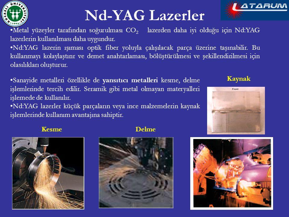Metal yüzeyler tarafından soğurulması CO 2 lazerden daha iyi olduğu için Nd:YAG lazerlerin kullanılması daha uygundur. Nd:YAG lazerin ışıması optik fi