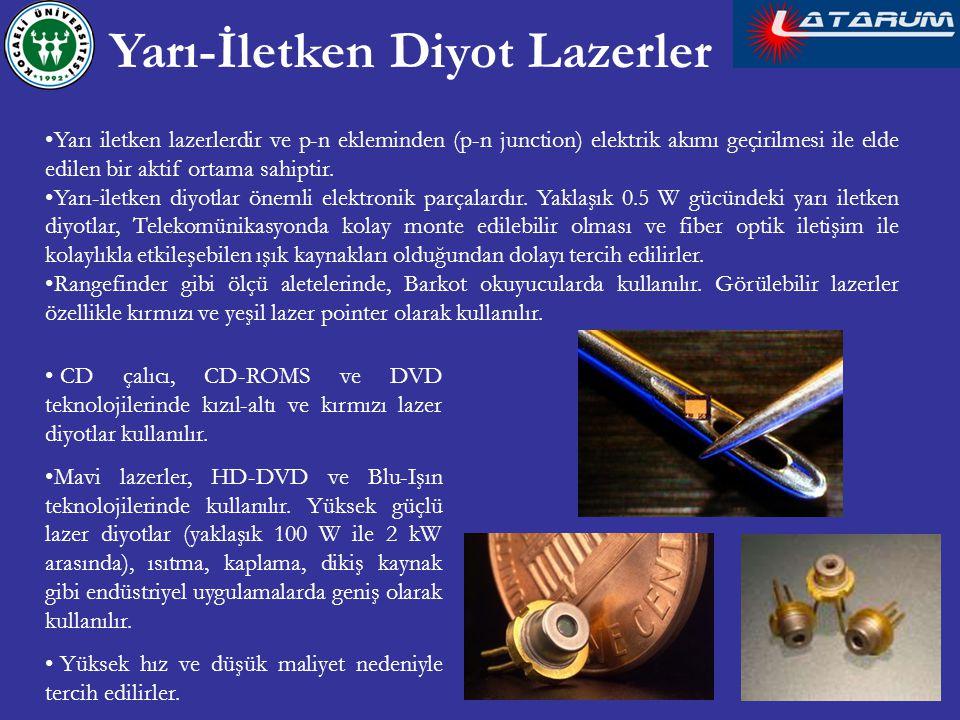 Yarı iletken lazerlerdir ve p-n ekleminden (p-n junction) elektrik akımı geçirilmesi ile elde edilen bir aktif ortama sahiptir. Yarı-iletken diyotlar