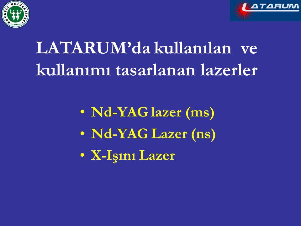 LATARUM'da kullanılan ve kullanımı tasarlanan lazerler Nd-YAG lazer (ms) Nd-YAG Lazer (ns) X-Işını Lazer
