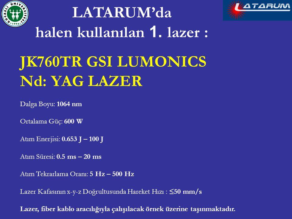JK760TR GSI LUMONICS Nd: YAG LAZER Dalga Boyu: 1064 nm Ortalama Güç: 600 W Atım Enerjisi: 0.653 J – 100 J Atım Süresi: 0.5 ms – 20 ms Atım Tekrarlama Oranı: 5 Hz – 500 Hz Lazer Kafasının x-y-z Doğrultusunda Hareket Hızı : ≤50 mm/s Lazer, fiber kablo aracılığıyla çalışılacak örnek üzerine taşınmaktadır.