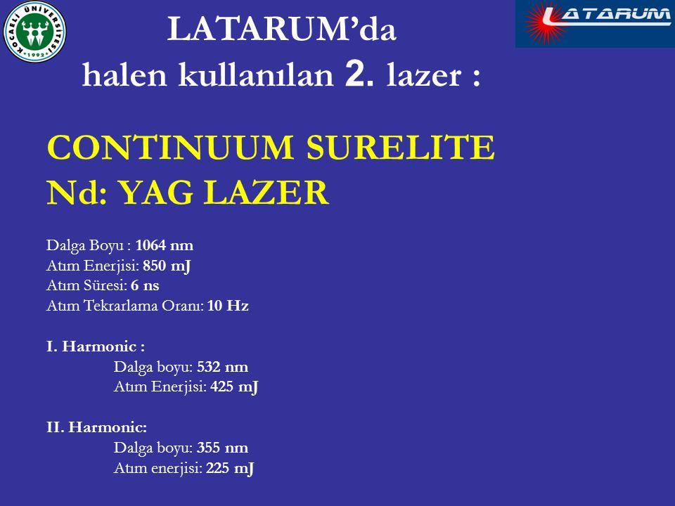 CONTINUUM SURELITE Nd: YAG LAZER Dalga Boyu : 1064 nm Atım Enerjisi: 850 mJ Atım Süresi: 6 ns Atım Tekrarlama Oranı: 10 Hz I. Harmonic : Dalga boyu: 5