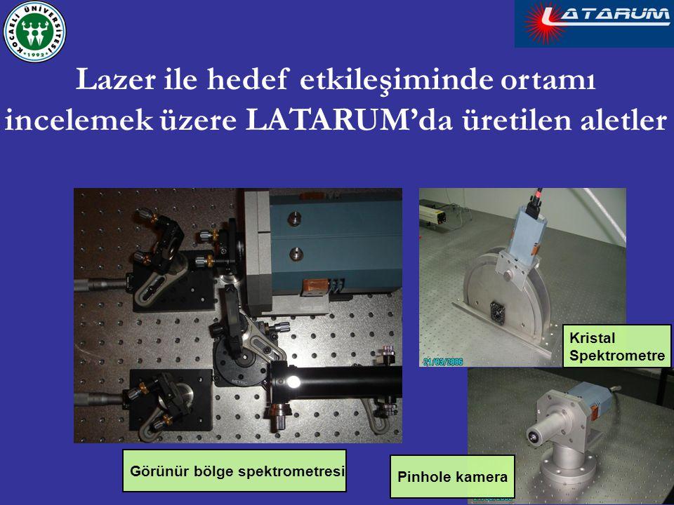 Pinhole kamera Kristal Spektrometre Görünür bölge spektrometresi Lazer ile hedef etkileşiminde ortamı incelemek üzere LATARUM'da üretilen aletler