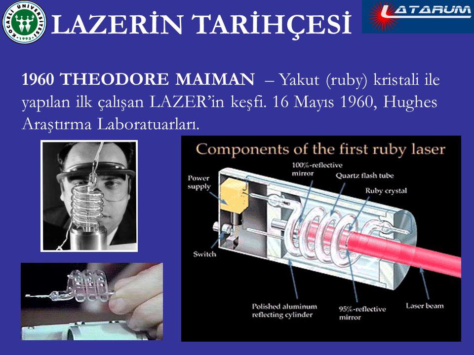 1960 THEODORE MAIMAN – Yakut (ruby) kristali ile yapılan ilk çalışan LAZER'in keşfi. 16 Mayıs 1960, Hughes Araştırma Laboratuarları. LAZERİN TARİHÇESİ