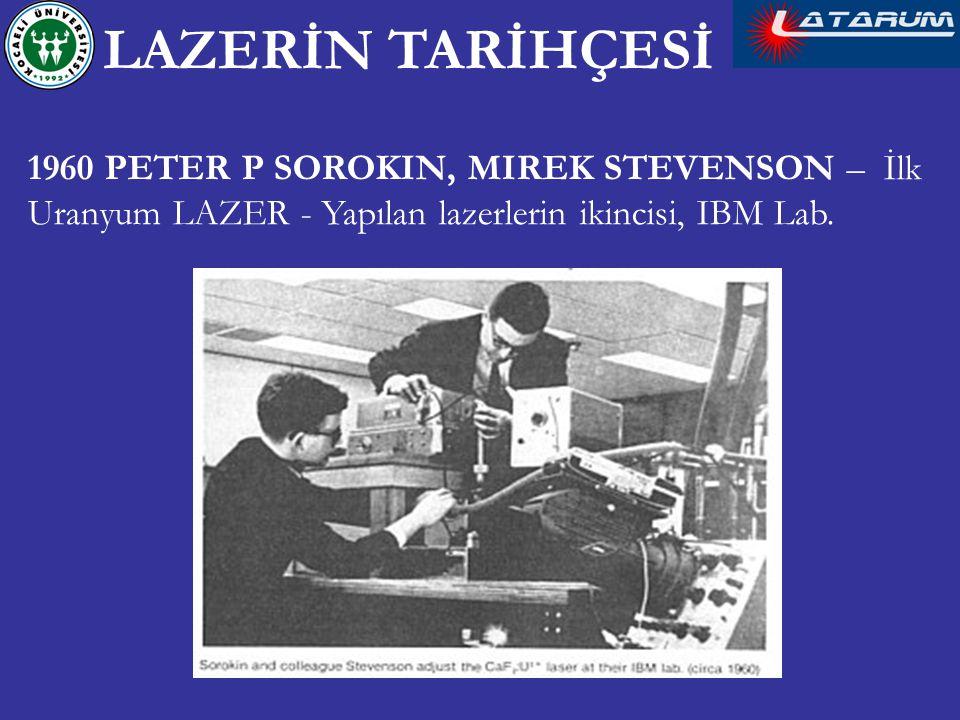 1960 PETER P SOROKIN, MIREK STEVENSON – İlk Uranyum LAZER - Yapılan lazerlerin ikincisi, IBM Lab. LAZERİN TARİHÇESİ