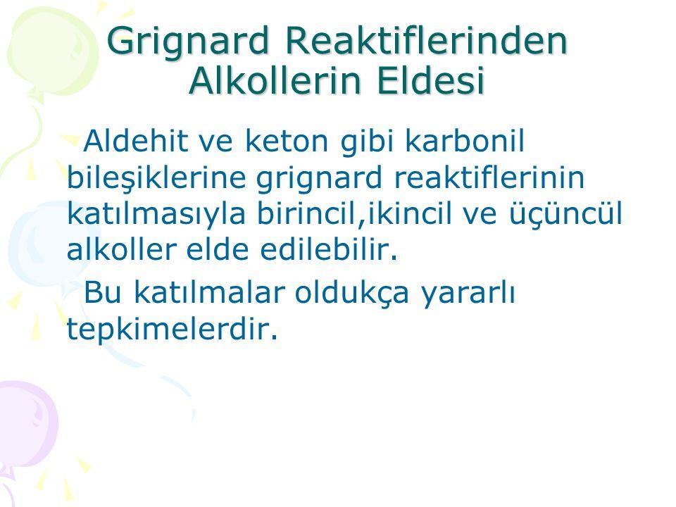 Grignard Reaktiflerinden Alkollerin Eldesi Aldehit ve keton gibi karbonil bileşiklerine grignard reaktiflerinin katılmasıyla birincil,ikincil ve üçüncül alkoller elde edilebilir.