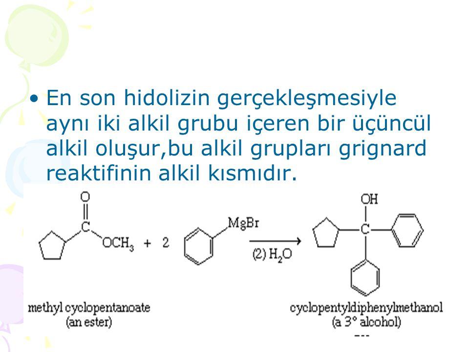 En son hidolizin gerçekleşmesiyle aynı iki alkil grubu içeren bir üçüncül alkil oluşur,bu alkil grupları grignard reaktifinin alkil kısmıdır.