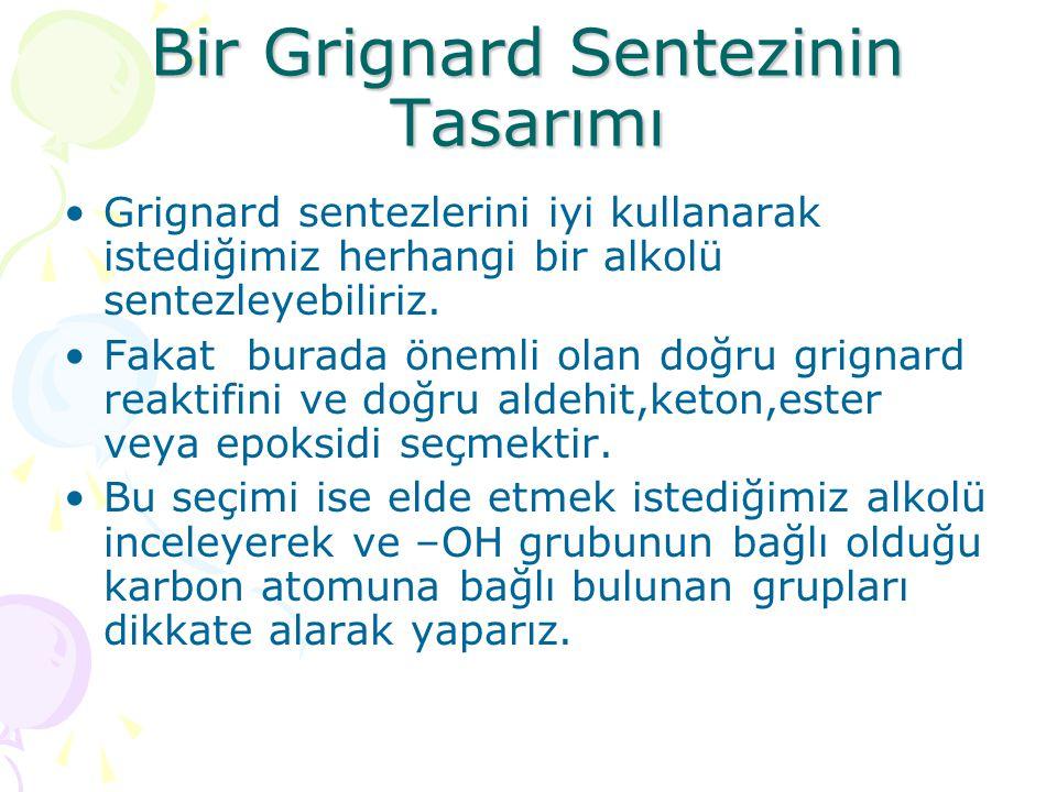 Bir Grignard Sentezinin Tasarımı Grignard sentezlerini iyi kullanarak istediğimiz herhangi bir alkolü sentezleyebiliriz.