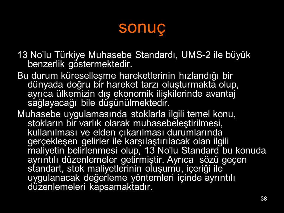 38 sonuç 13 No'lu Türkiye Muhasebe Standardı, UMS-2 ile büyük benzerlik göstermektedir.