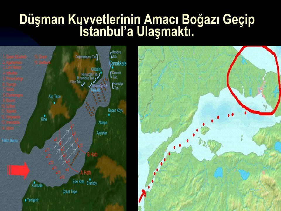 17.12.201410 Düşman Kuvvetlerinin Amacı Boğazı Geçip İstanbul'a Ulaşmaktı.