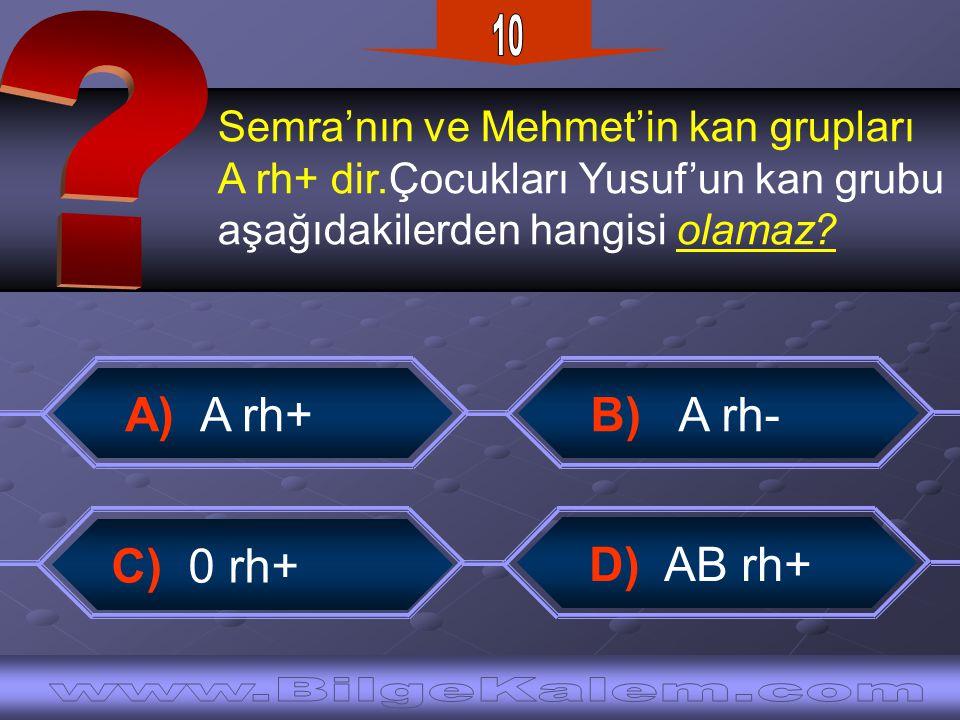 Semra'nın ve Mehmet'in kan grupları A rh+ dir.Çocukları Yusuf'un kan grubu aşağıdakilerden hangisi olamaz? B) A rh- A) A rh+ D) AB rh+ C) 0 rh+