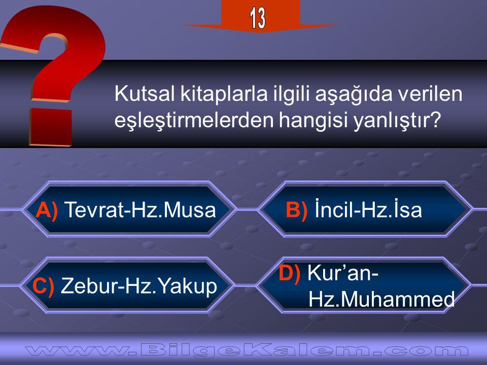 Kutsal kitaplarla ilgili aşağıda verilen eşleştirmelerden hangisi yanlıştır? B) İncil-Hz.İsaA) Tevrat-Hz.Musa C) Zebur-Hz.Yakup D) Kur'an- Hz.Muhammed