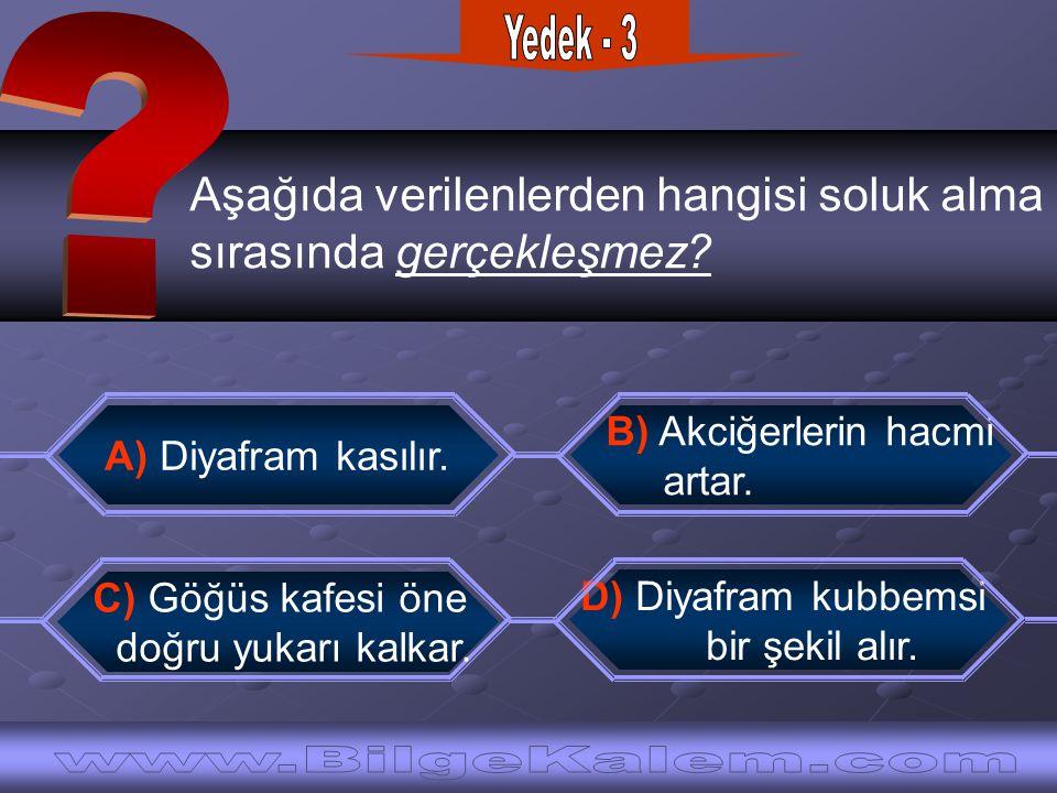 Aşağıda verilenlerden hangisi soluk alma sırasında gerçekleşmez? B) Akciğerlerin hacmi artar. A) Diyafram kasılır. D) Diyafram kubbemsi bir şekil alır