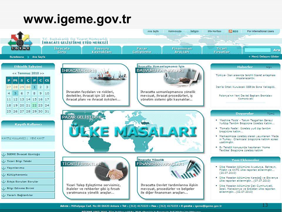 13 www.igeme.gov.tr 13