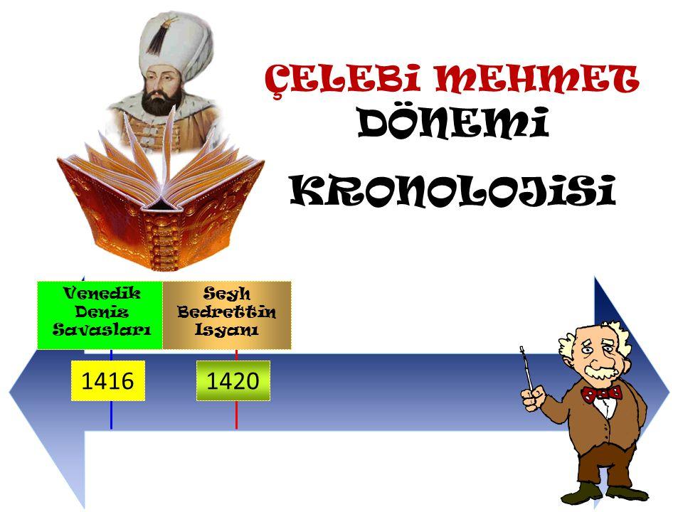 Çelebi Mehmet Dönemi Olaylarına bakalım Çelebi Mehmet 1402-1413 Yılları arasında hüküm süren Fetret Dönemi 'nde kardeşlerini yenerek başa geçti.Ve devleti yıkılmaktan kurtardığı için de devletin II.Kurucusu olarak kabul edildi.