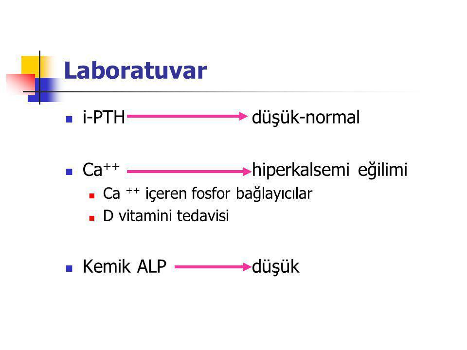 Laboratuvar i-PTHdüşük-normal Ca ++ hiperkalsemi eğilimi Ca ++ içeren fosfor bağlayıcılar D vitamini tedavisi Kemik ALPdüşük