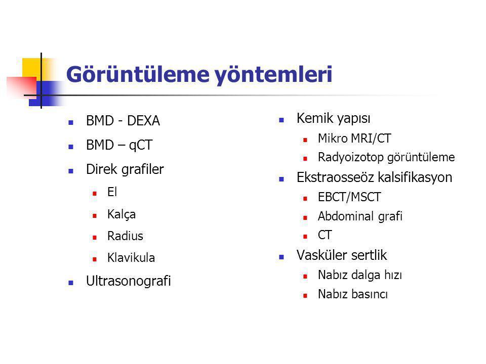Görüntüleme yöntemleri BMD - DEXA BMD – qCT Direk grafiler El Kalça Radius Klavikula Ultrasonografi Kemik yapısı Mikro MRI/CT Radyoizotop görüntüleme Ekstraosseöz kalsifikasyon EBCT/MSCT Abdominal grafi CT Vasküler sertlik Nabız dalga hızı Nabız basıncı