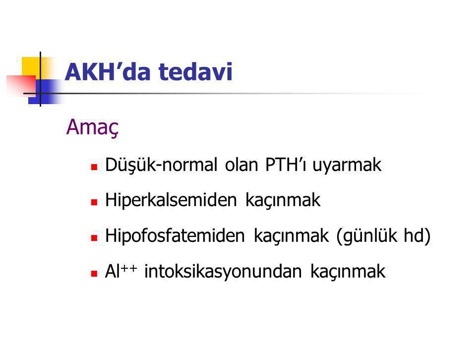 AKH'da tedavi Amaç Düşük-normal olan PTH'ı uyarmak Hiperkalsemiden kaçınmak Hipofosfatemiden kaçınmak (günlük hd) Al ++ intoksikasyonundan kaçınmak